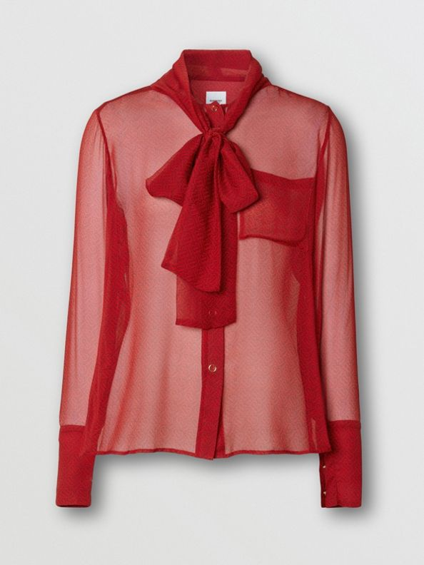 Monogram Print Silk Chiffon Pussy-bow Blouse in Bright Red