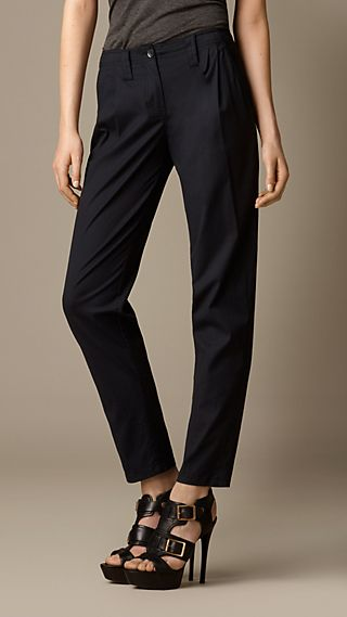 Cotton Twill Pleat Front Trousers
