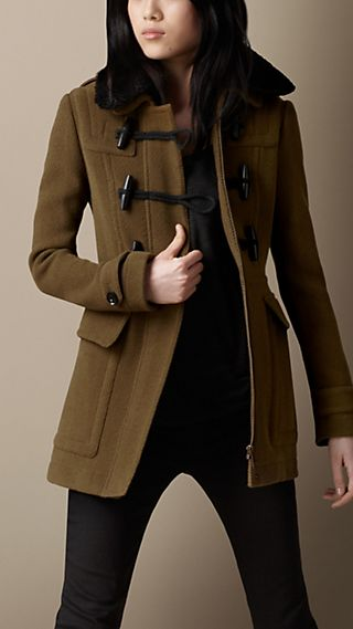 Shearling Collar Fitted Duffle Coat