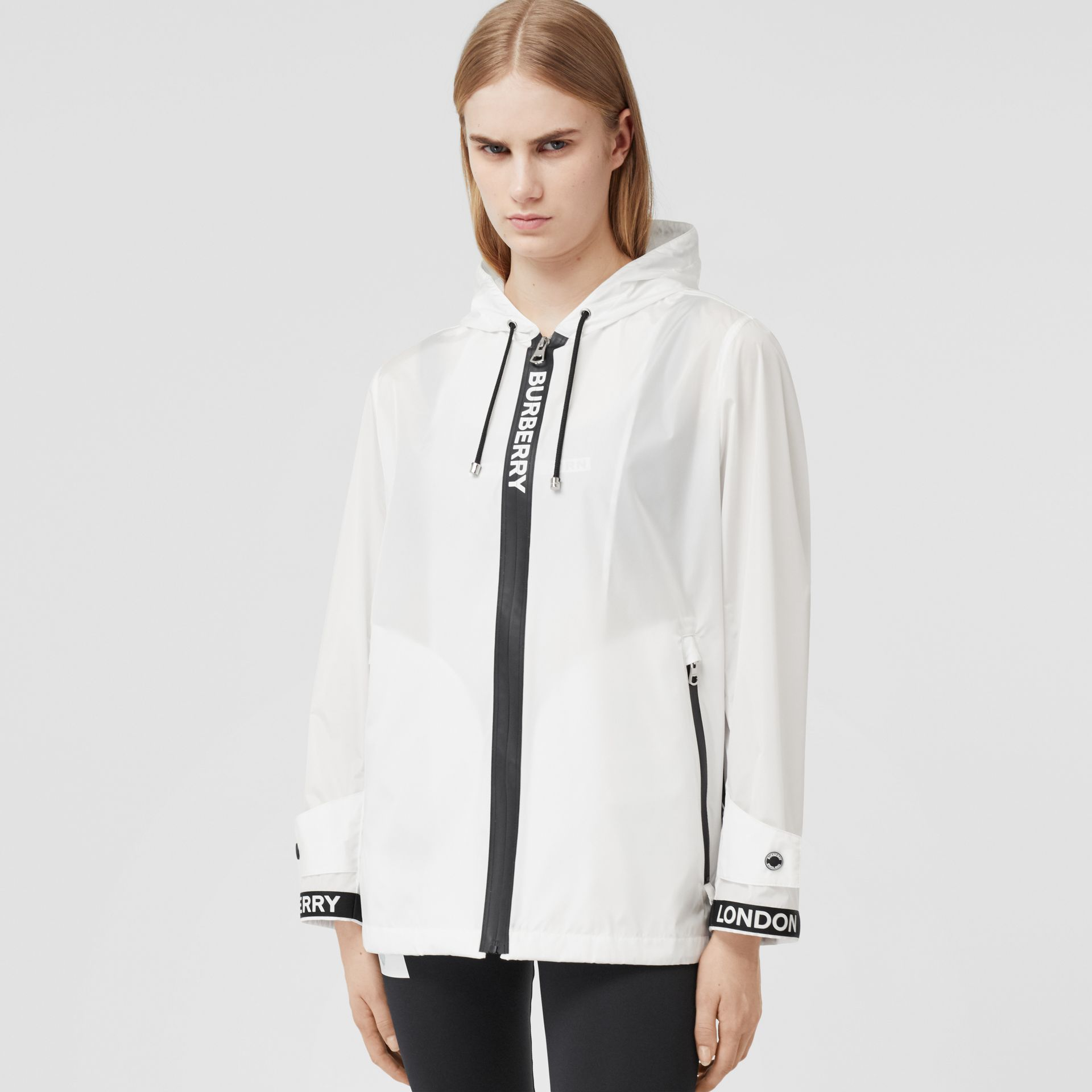 Logo Tape ECONYL® Hooded Jacket in Optic White - Women | Burberry Singapore - gallery image 0