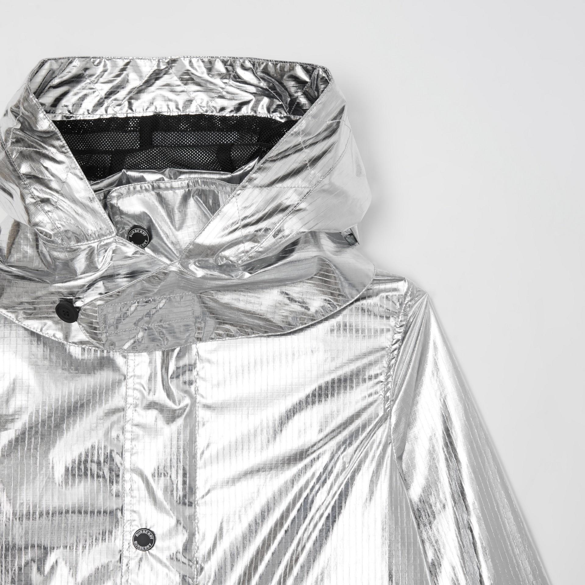 Detachable Hood Metallic Nylon Parka in Silver | Burberry - gallery image 5