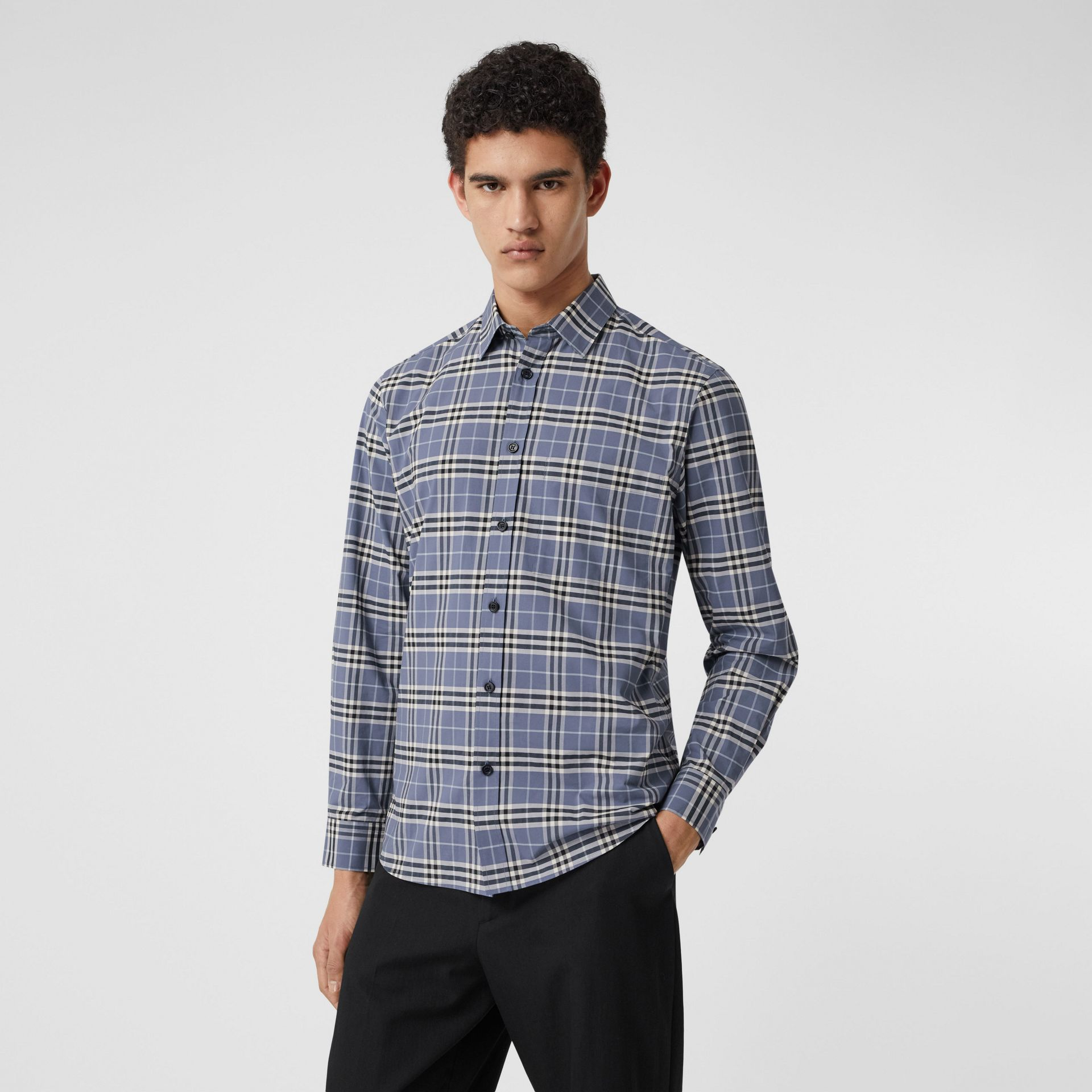Small Scale Check Stretch Cotton Shirt in Pebble Blue - Men | Burberry United Kingdom - gallery image 6