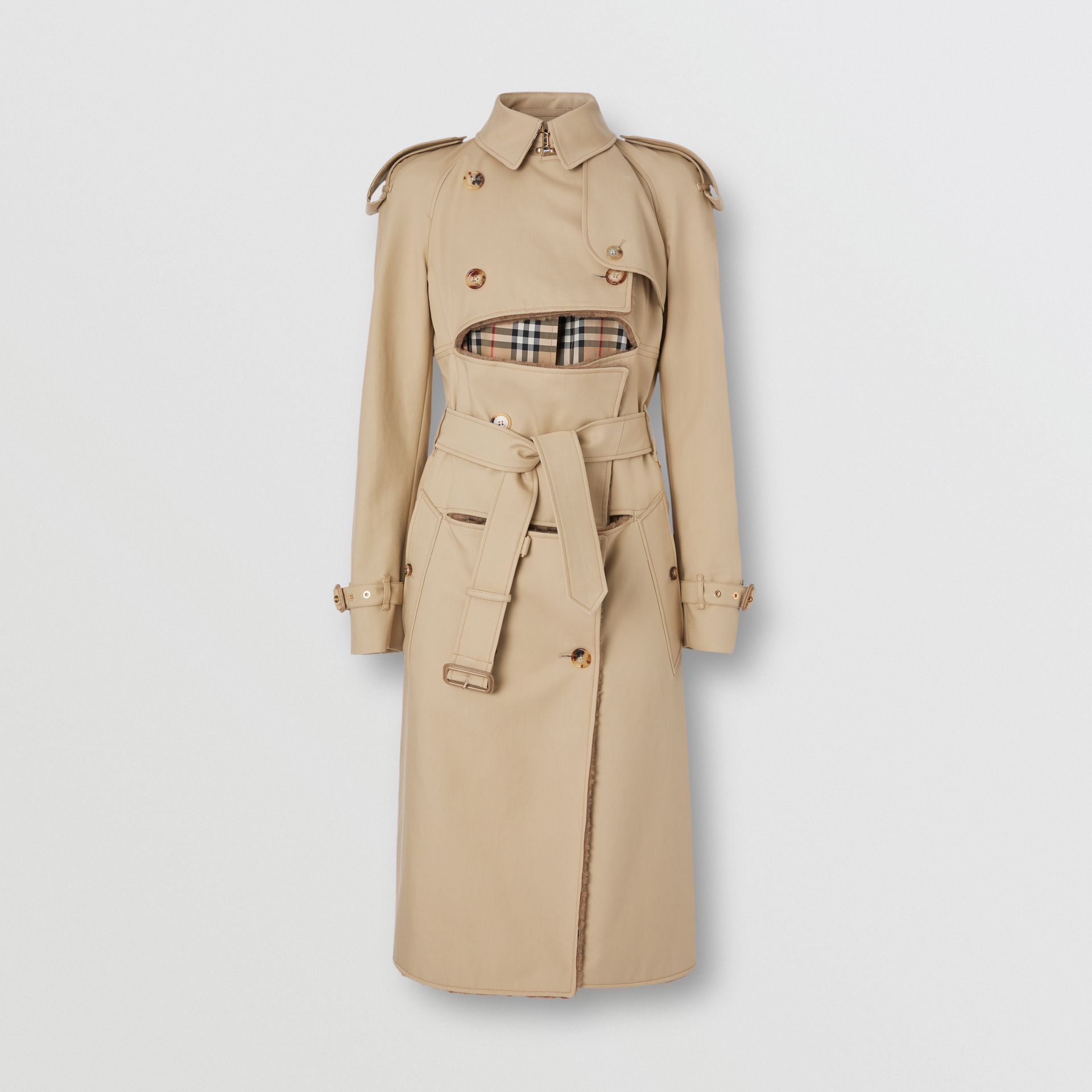 Deconstructed Cotton and Shearling Trench Coat in Honey - Women | Burberry - gallery image 3