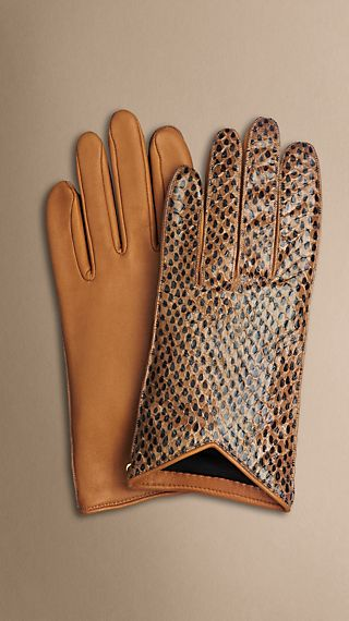 Nappa Leather and Snakeskin Gloves