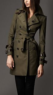 Mid-Length Cotton Gabardine Leather Detail Heritage Trench Coat