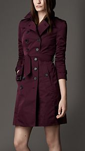 Long Taffeta Twill Trench Coat