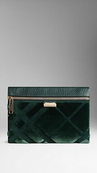Medium Velvet Check Clutch Bag