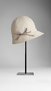Bow Detail Cotton Gabardine Rain Hat