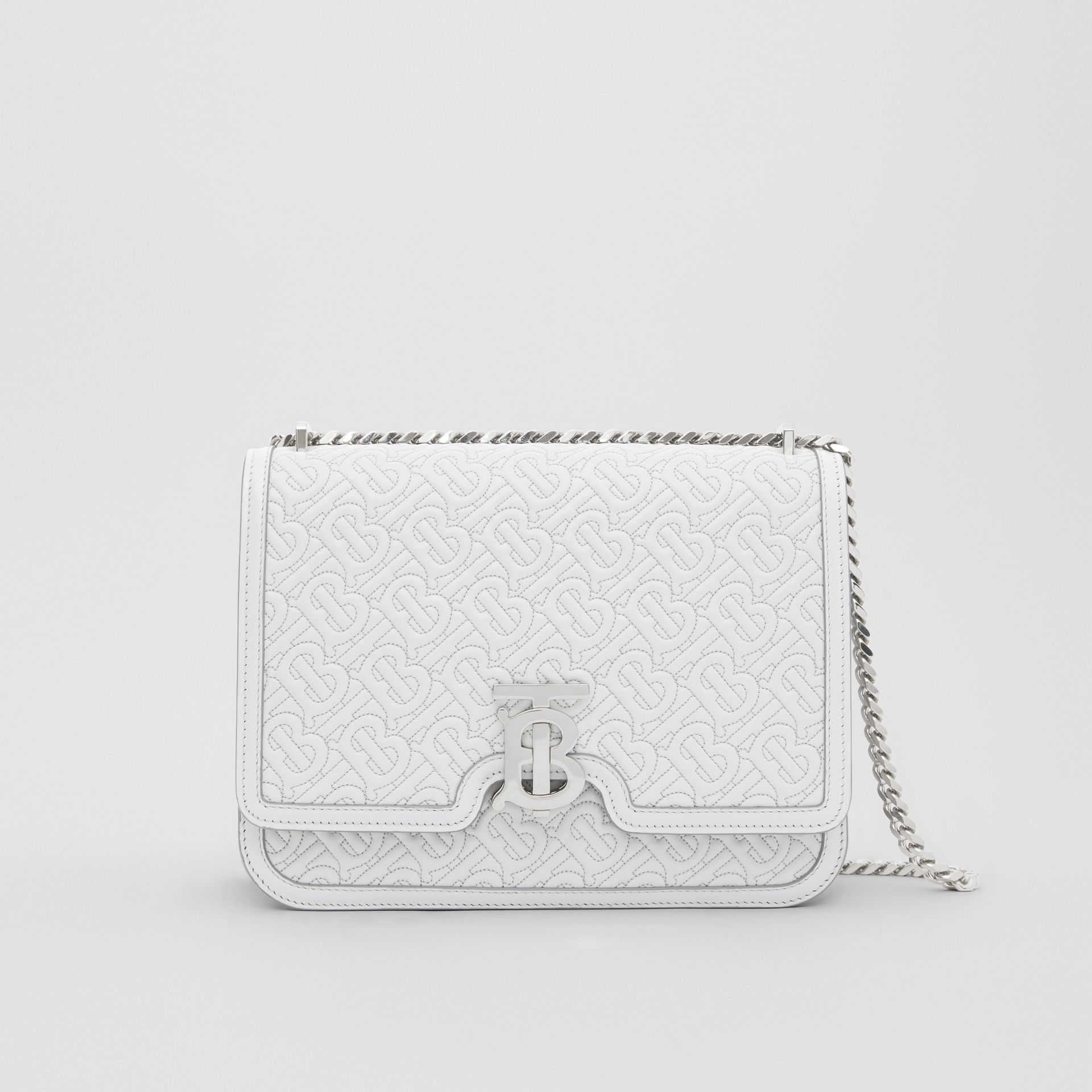 Medium Quilted Monogram Lambskin TB Bag in Light Pebble Grey - Women | Burberry - gallery image 0