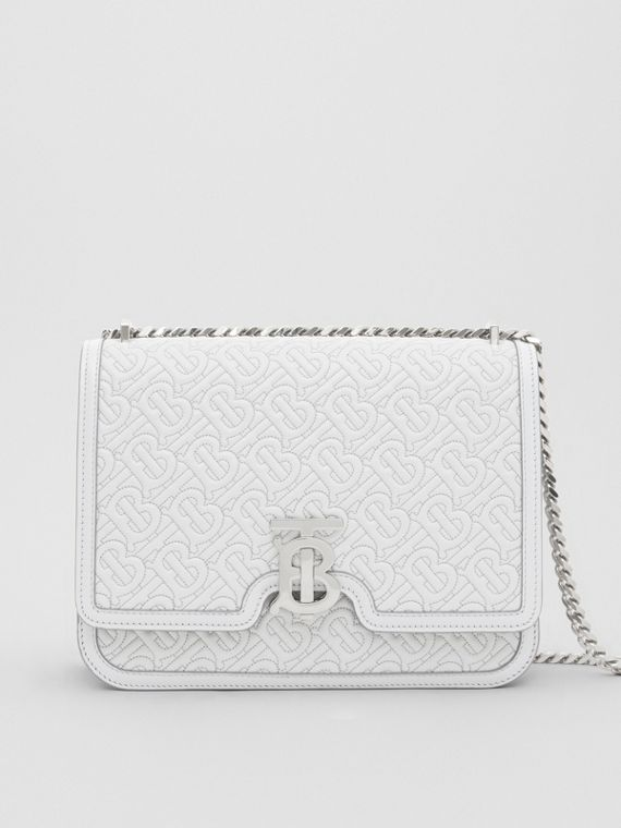 Medium Quilted Monogram Lambskin TB Bag in Light Pebble Grey