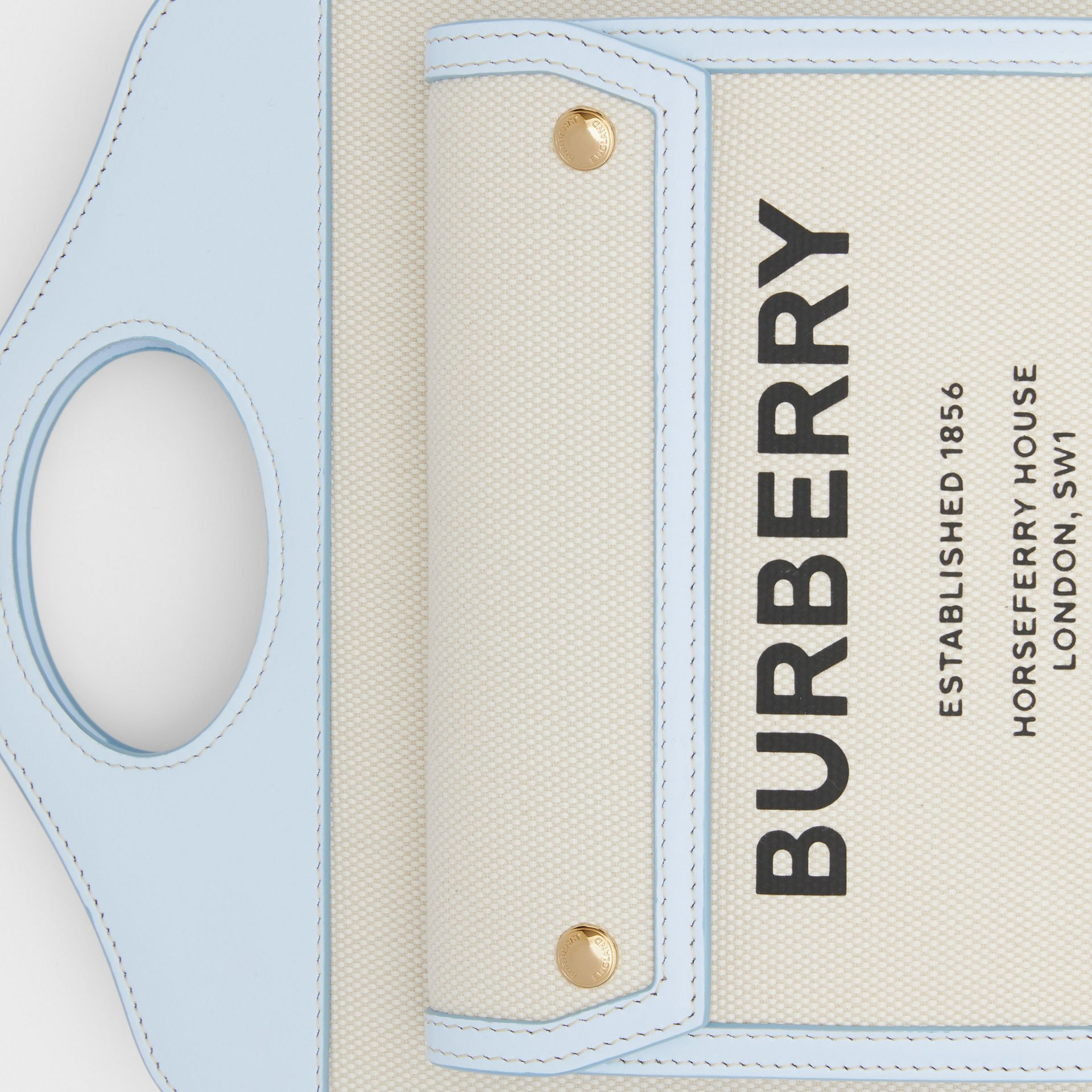 Mini Two-tone Canvas and Leather Pocket Bag in Natural/pale Blue | Burberry United States - gallery image 1