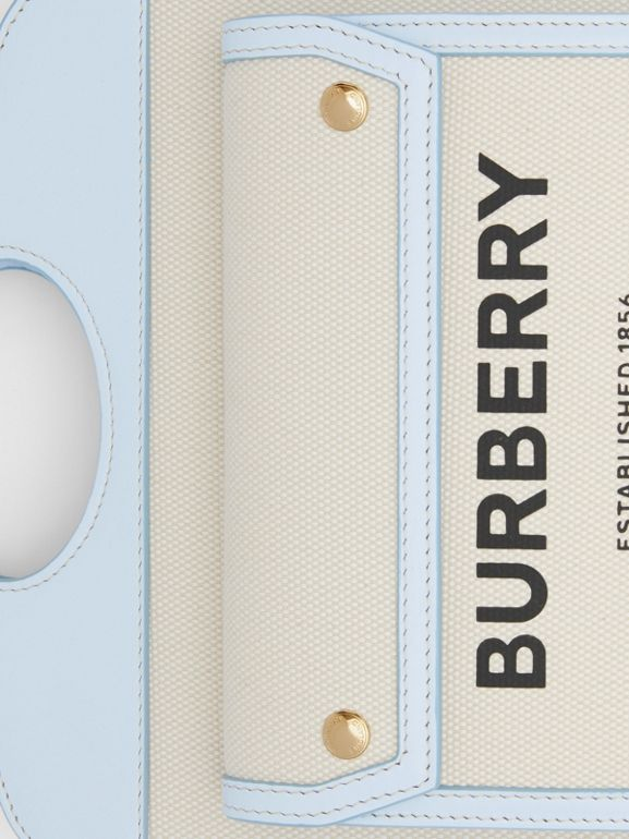 Mini Two-tone Canvas and Leather Pocket Bag in Natural/pale Blue | Burberry United States - cell image 1
