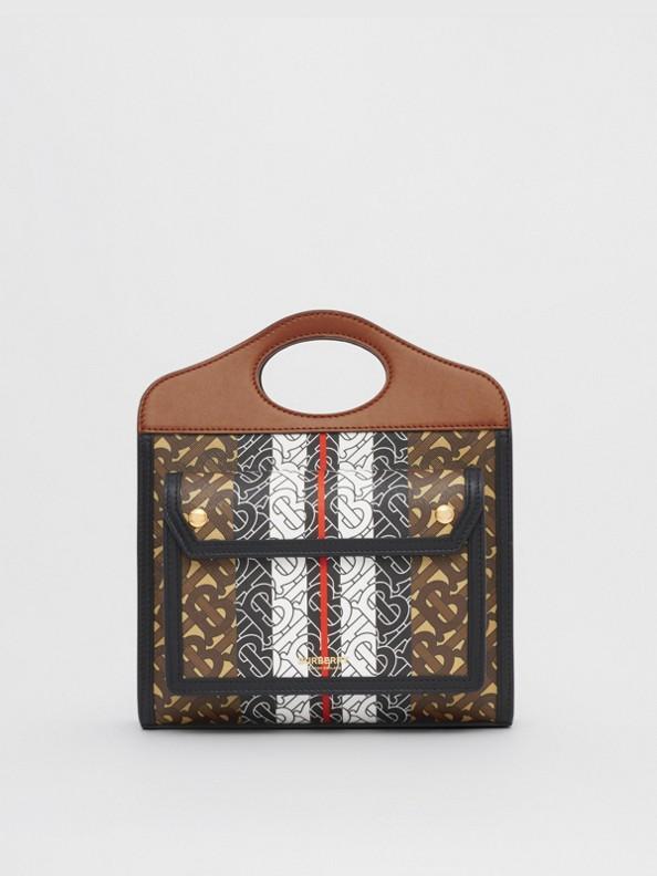 Mini sac Pocket en toile écologique rayé Monogram (Brun Bride)