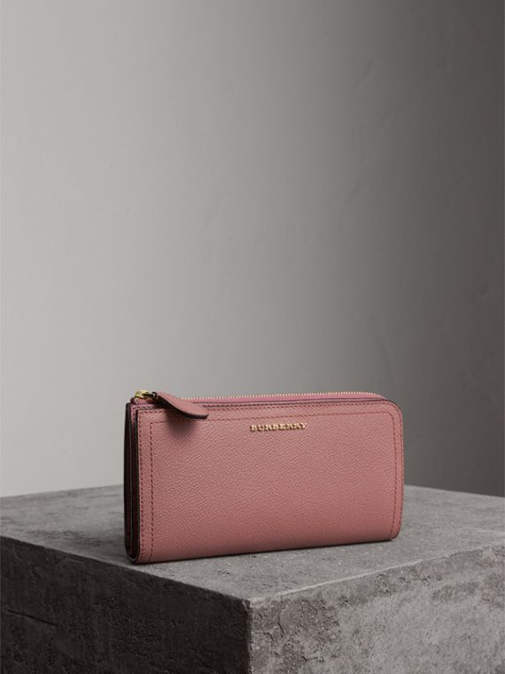 Grainy Leather Ziparound Wallet in Dusty Pink