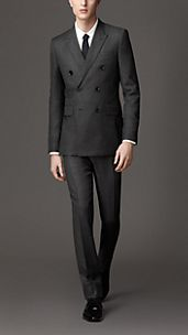 Modern Fit Virgin Wool Double-Breasted Windowpane Check Suit