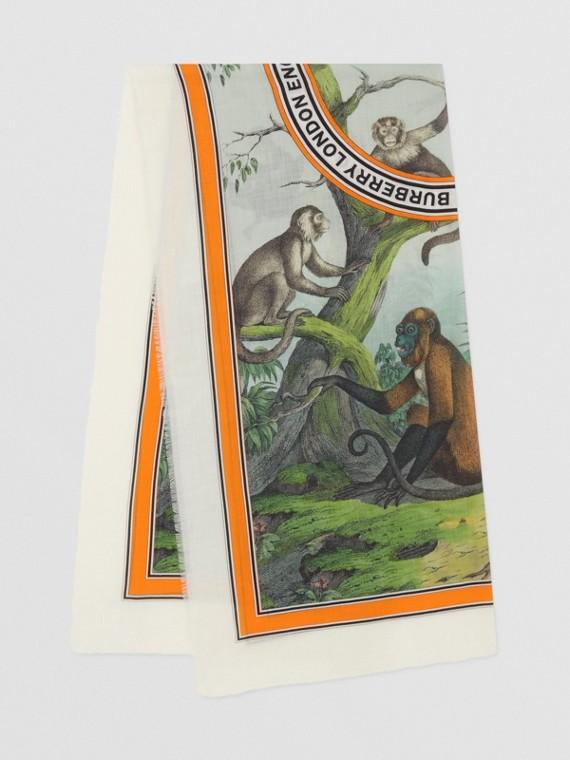 Cachecol leve de cashmere com estampa de macaco (Verde Opala)