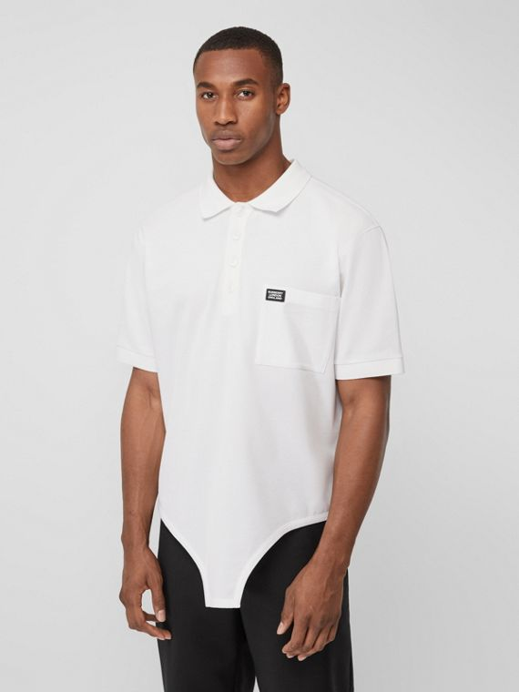 Cut-out Hem Cotton Reconstructed Polo Shirt in Optic White
