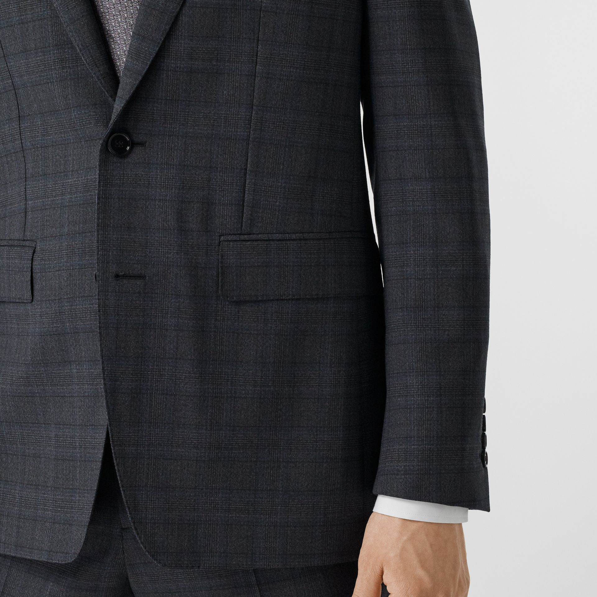 English Fit Check Wool Suit in Steel Blue | Burberry - gallery image 4