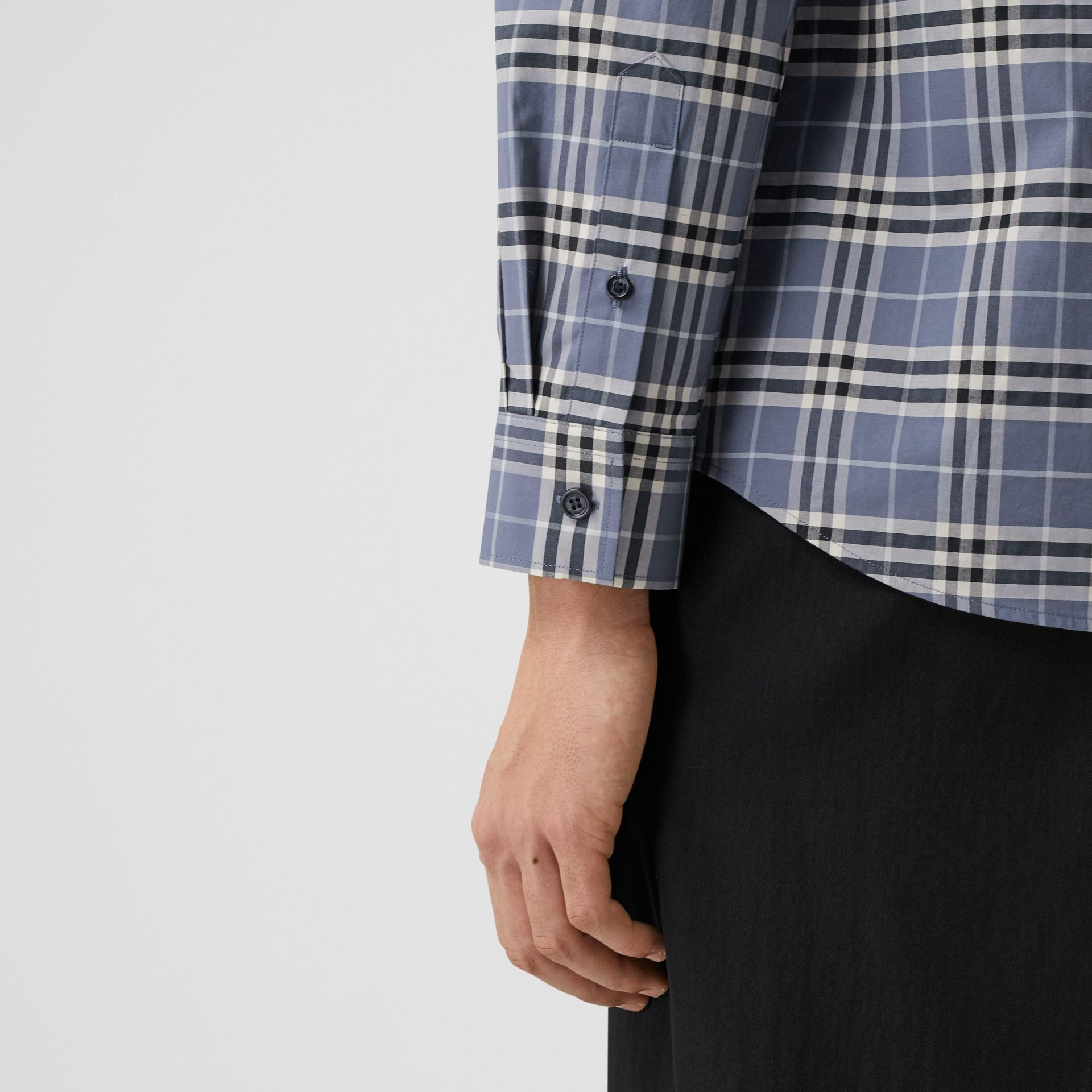 Small Scale Check Stretch Cotton Shirt in Pebble Blue - Men | Burberry United Kingdom - gallery image 4