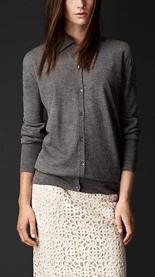Merino Wool Polo Cardigan