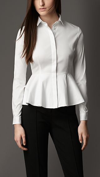 Peplum Detail Cotton Blend Shirt