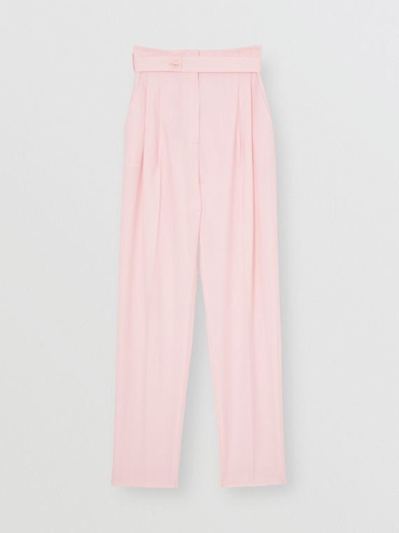 Cut-out Detail Wool Canvas Tailored Trousers in Pastel Pink