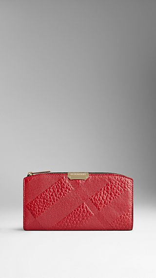 Embossed Check Signature Grain Leather Continental Wallet