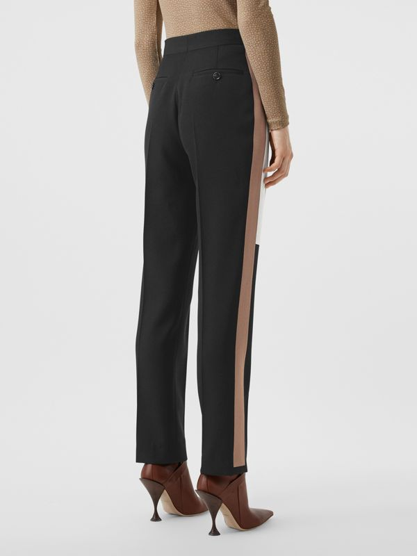 Stripe Detail Wool Tailored Trousers in Black - Women | Burberry - cell image 2