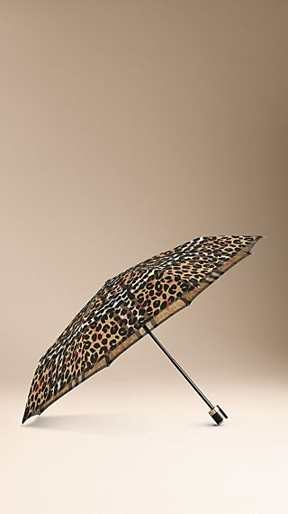 Animal Print Check Folding Umbrella
