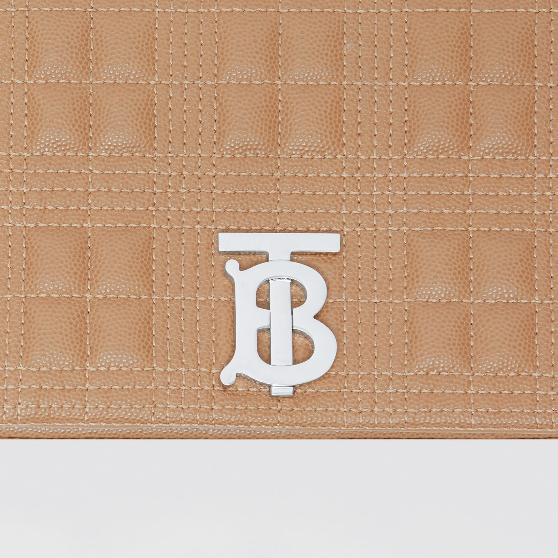 Small Quilted Grainy Leather Lola Bag in Camel/palladium | Burberry United Kingdom - gallery image 1