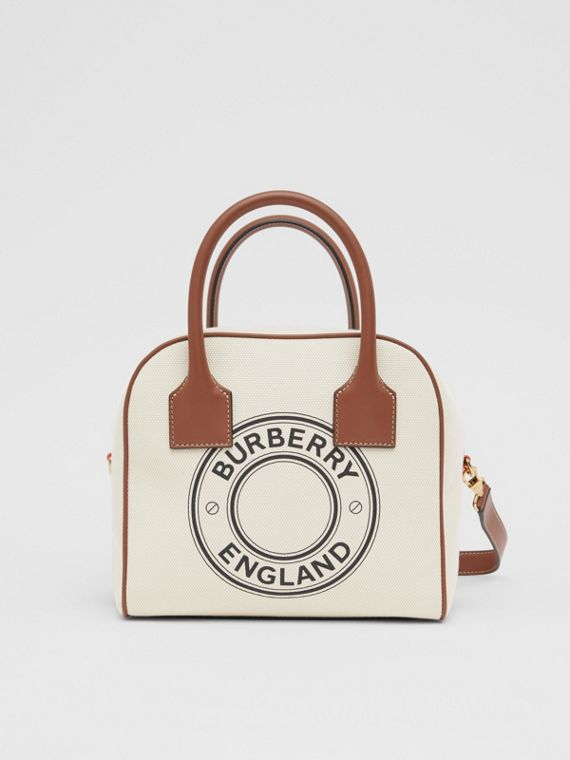 Small Logo Graphic Cotton Canvas Cube Bag in Natural/tan