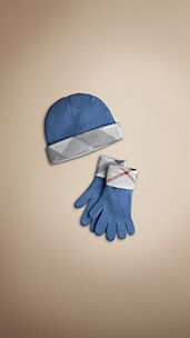 Cotton Cashmere Gloves and Beanie Set