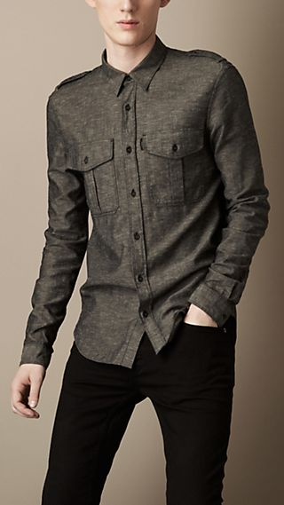 Chambray Cotton Military Shirt