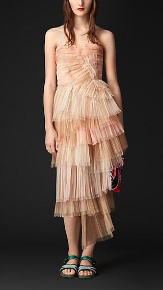 Layered Silk Bustier Dress