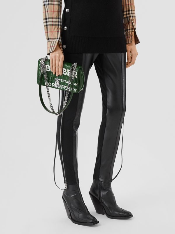 Small Horseferry Print Quilted Lola Bag in Dark Pine Green/white - Women | Burberry United States - cell image 2