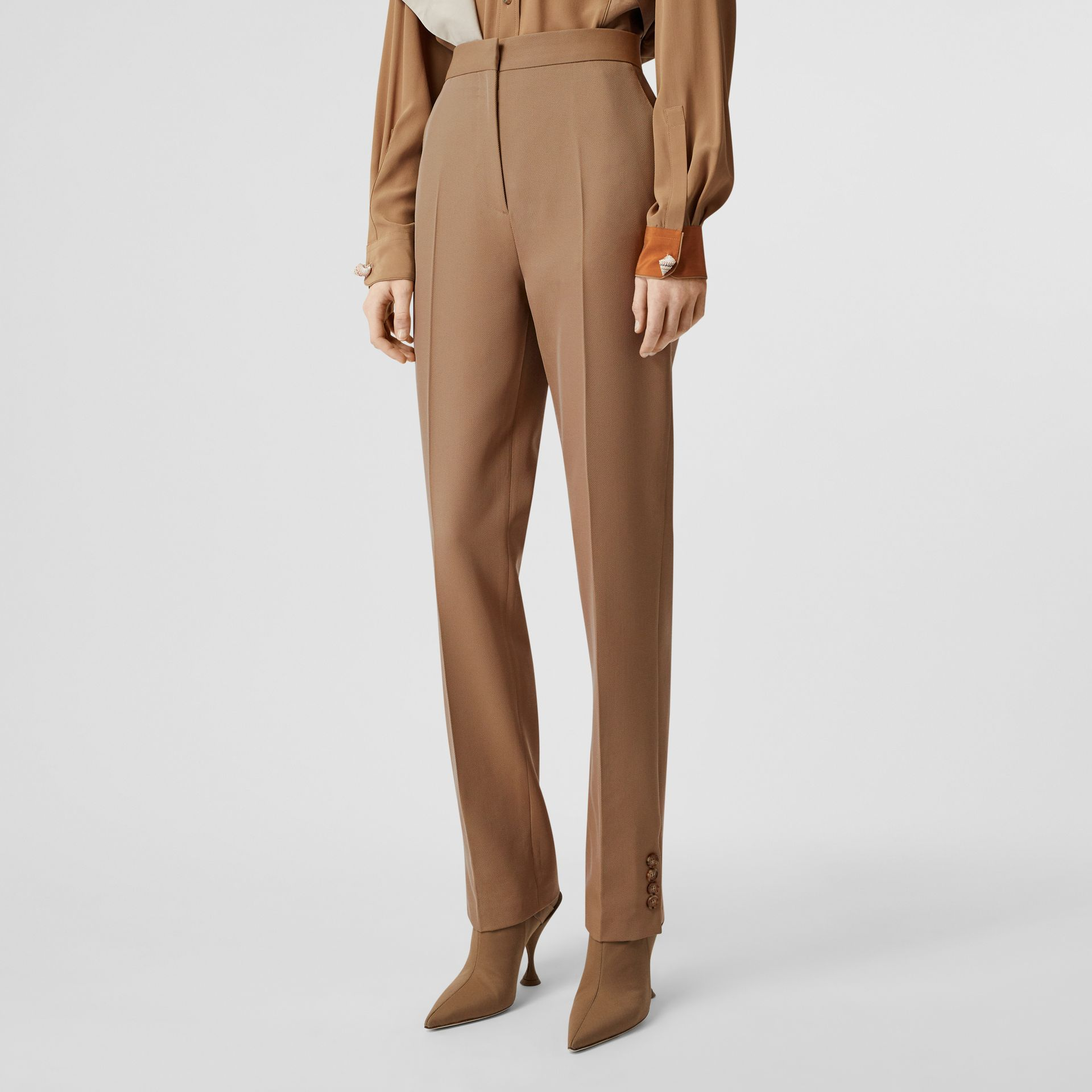 Straight Fit Button Detail Wool Blend Tailored Trousers in Camel - Women | Burberry - gallery image 1
