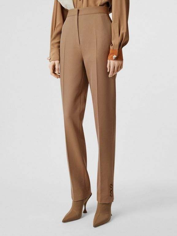 Straight Fit Button Detail Wool Blend Tailored Trousers in Camel - Women | Burberry - cell image 1