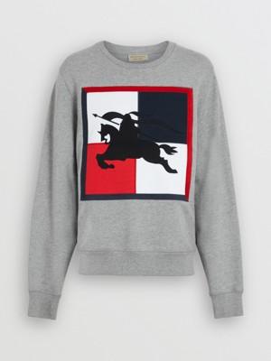 格纹马术骑士图案棉质运动衫