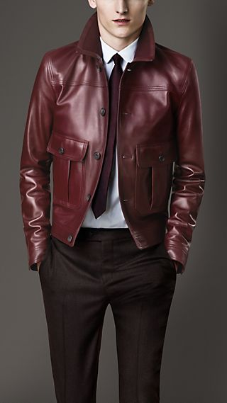 Ribbed Collar Lambskin Blouson