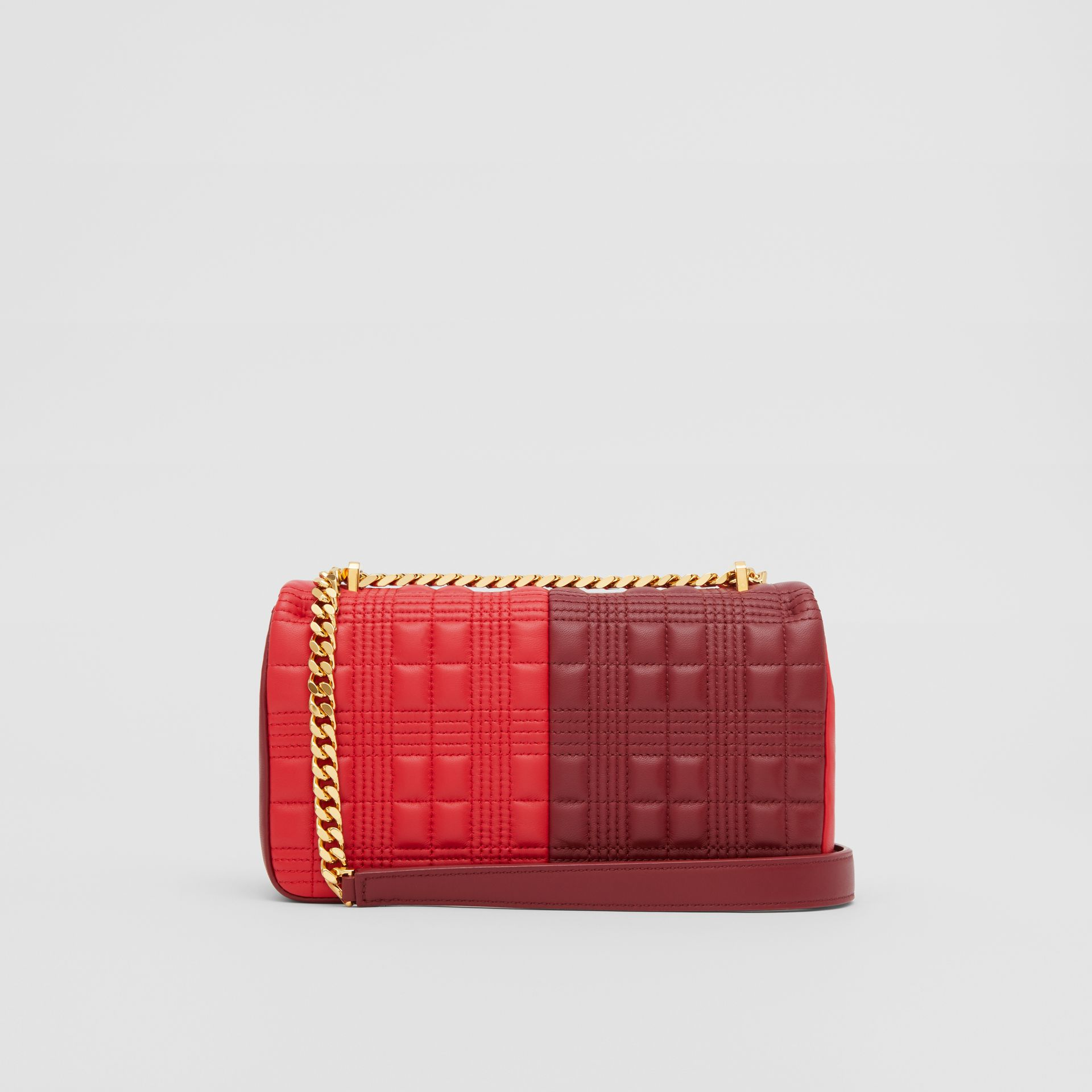 Small Quilted Colour Block Lambskin Lola Bag in Bright Red/burgundy - Women | Burberry - gallery image 7