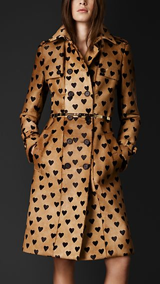Heart Print Calfskin Trench Coat