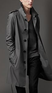 Trench-coat mi-long en gabardine de coton tissage tonique