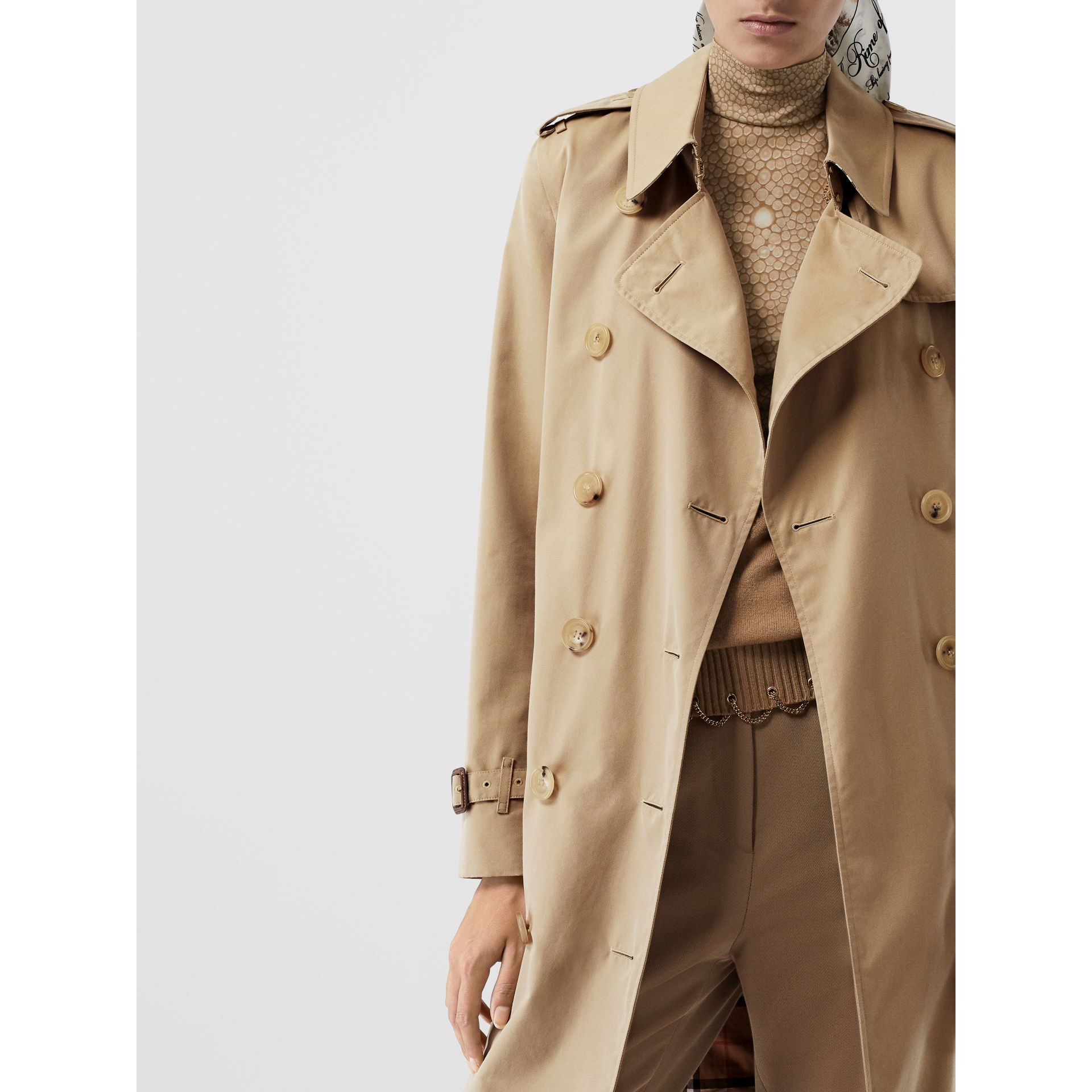 The Mid-length Kensington Heritage Trench Coat in Honey | Burberry - gallery image 8