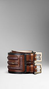 Framed Python Leather Waist Belt