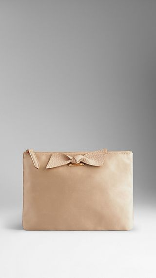 Large Satin Beauty Wallet with Knot Detail