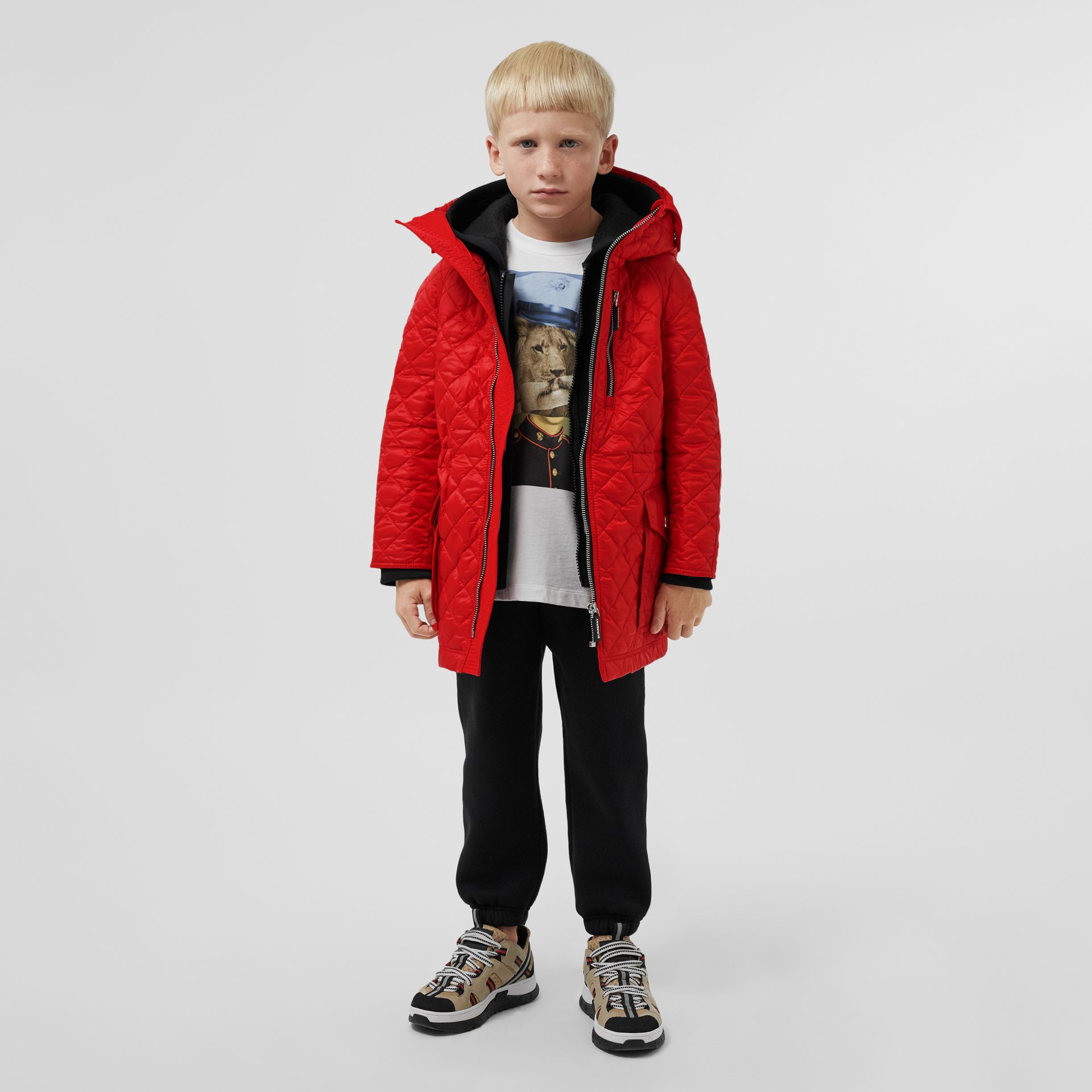 Diamond Quilted Hooded Coat in Bright Red   Burberry - gallery image 2