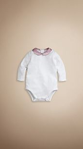 Check Collar Cotton Bodysuit