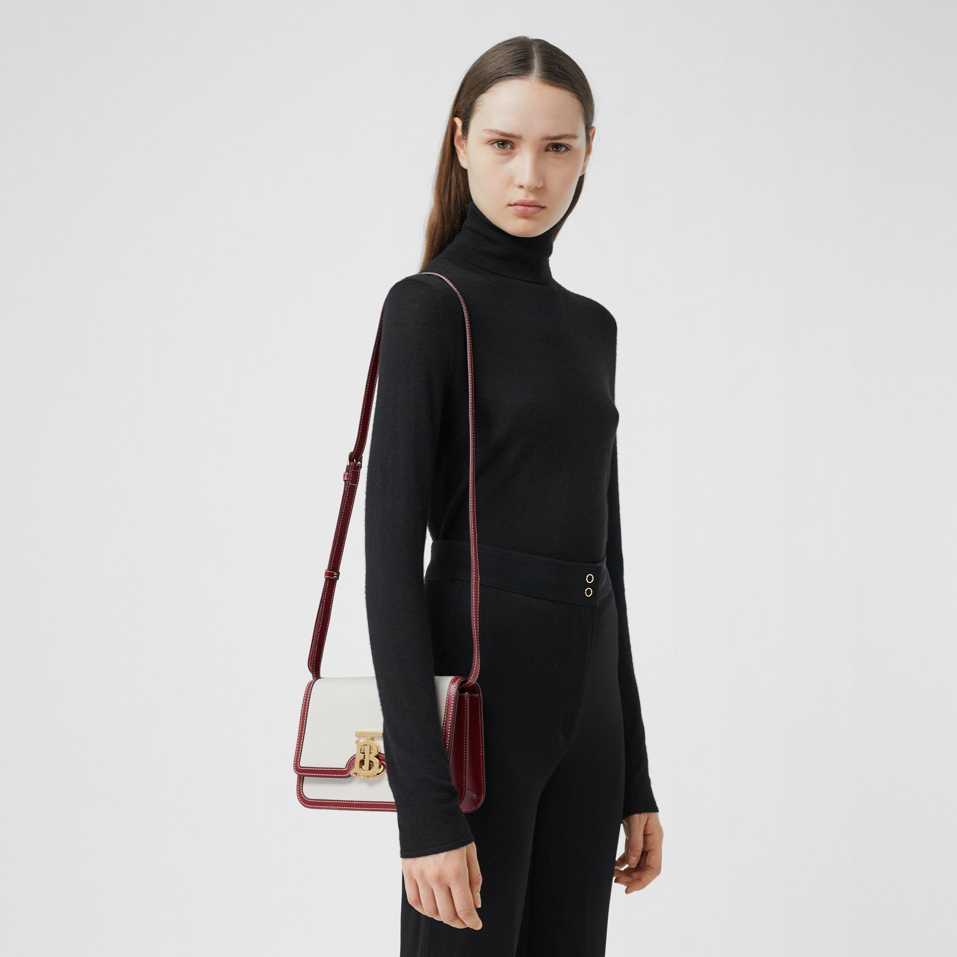 Small Two-tone Canvas and Leather TB Bag in Natural/dark Carmine - Women | Burberry Australia - gallery image 8