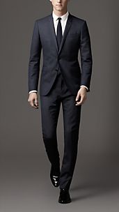 Modern Fit Virgin Wool Pinstripe Suit