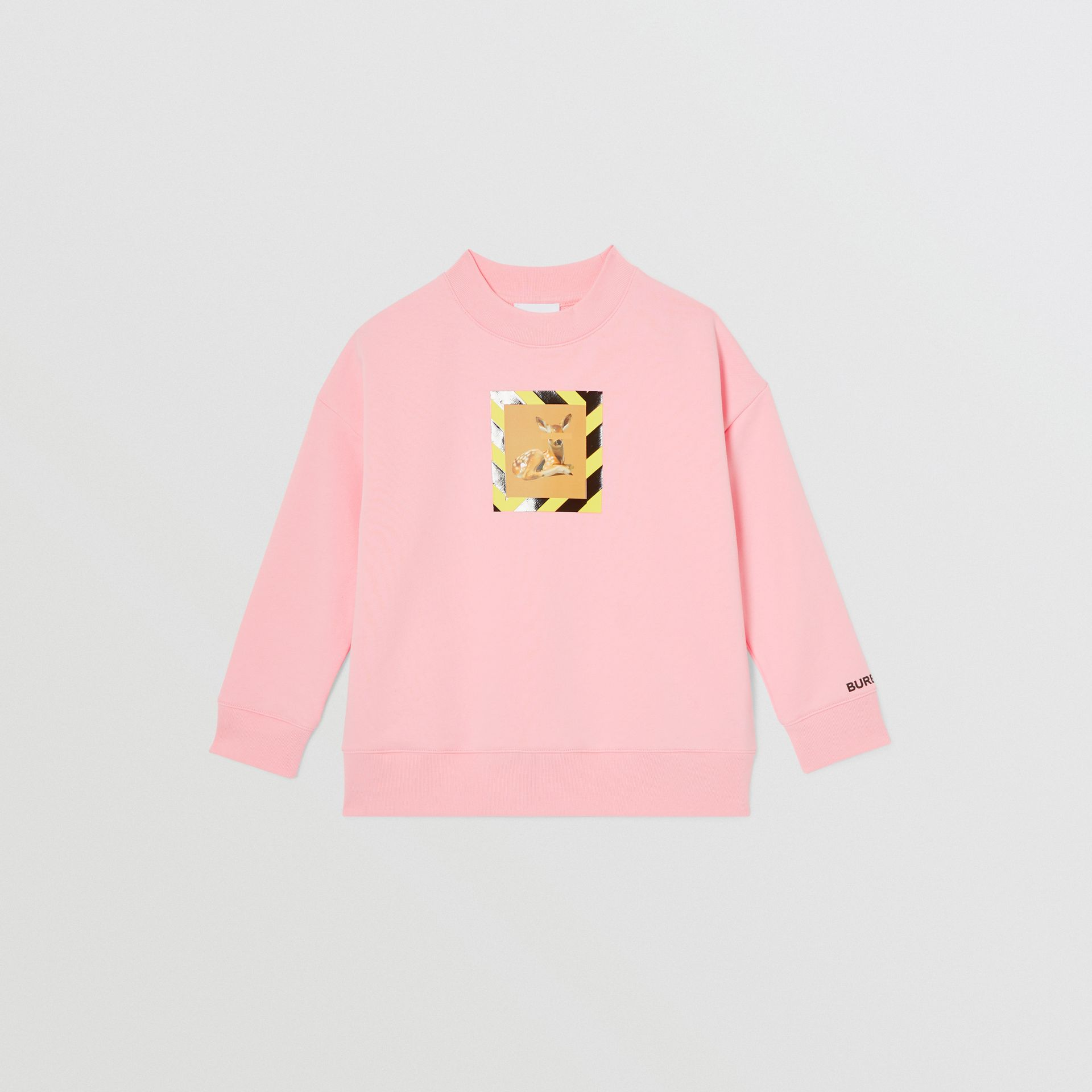 Deer Print Cotton Sweatshirt in Candy Pink | Burberry - gallery image 1
